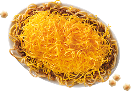 Overhead 3-Way – Skyline's signature 3-Way with their original secret-recipe chili over noodles, topped with a mound of freshly shredded cheddar cheese.