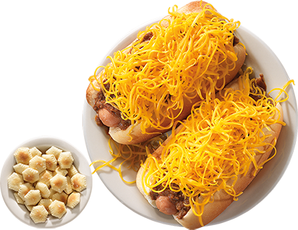 Cheese Coneys are served on freshly steamed buns with bowl of oyster crackers.