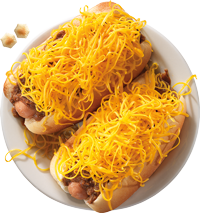 Overhead Coney – Cheese Coneys are served on freshly steamed buns.
