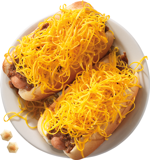 Cheese Coneys are served on freshly steamed buns